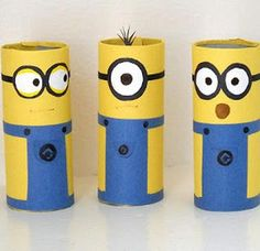 Watch something ordinary turn into a bunch of adorable little minions. Cardboard Tube Minion Crafts transform toilet tubes into the cutest toilet paper roll crafts ever witnessed. Despicable Me minions are kid favorites. Recycled Crafts Kids, Fun Diy Crafts, Fun Crafts For Kids, Toddler Crafts, Diy For Kids, Family Crafts, Cardboard Crafts Kids, Owl Crafts, Horse Crafts