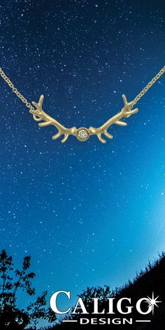 Elk Antler Pendant Necklace - 14K yellow gold and Diamond - Elk jewelry #elkantler #elk #elkjewelry #elkantlernecklace