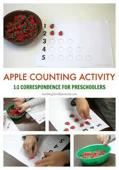 Add some simple one-to-one correspondence to your preschool fall curriculum with this fun apple counting activity! Simple math for 3 and 4 year olds with a free printable -  from Teaching 2 and 3 Year Olds