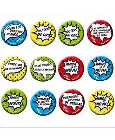 Colección de chapas para bodas Comic - 12 chapas parte 1 Ideas, Sheet Metal, Buttons, Wedding Decoration, Flower Arrangements