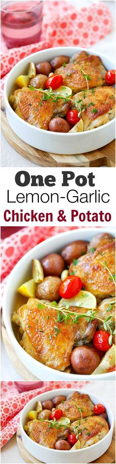 Lemon-Garlic Chicken and Potatoes – one pot braised chicken with lemon-garlic and potatoes. Serve the whole family but so easy and only one pot to clean!!