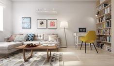 Salón con sofá en L de un piso de 60 metros cuadrados