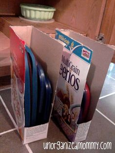 File your plastic lids away in old cereal boxes. | 7 Easy Organizing Tricks You'll Actually Want To Try