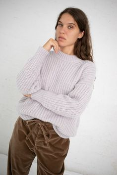 ef165f11f6f Cozy wool and silk blend ribbed pullover with chunky mock neck and a  slightly boxy silhouette