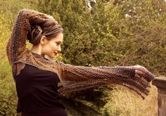 Boho sweater / hand knit / striped / wool / long sleeve sweater / knitted shrug / spring sweater.  Hand knitted from yarn of different colors