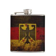 Black Grunge Germany Flag Flasks