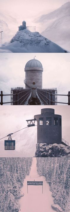 Brilliant shots of winter landscapes in The Grand Budapest Hotel. Cinematography by Robert Yeoman.