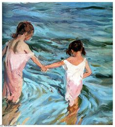 Ni_as en el mar (1909), 1909 by Joaquin Sorolla Y Bastida (1863-1923, Spain)