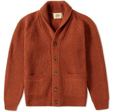 Journal Standard   Orange Ribbed Shawl Collar Cardigan