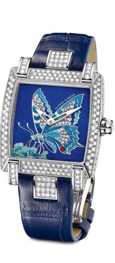 The 18K white gold and diamonds limited-edition (28 pieces) Caprice Butterfly watch in enamel champlevé by Ulysse Nardin