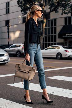 Blonde Woman Wearing Black Shirt Blouse Levis Cropped Jeans Black Pumps Celine M Black Shirt Outfits, Casual Outfits, Black Blouse Outfit, Black Heels Outfit, Black Shirts, Black Shirt With Jeans, Shirt And Jeans Women, Black Peplum, Jean Shirts