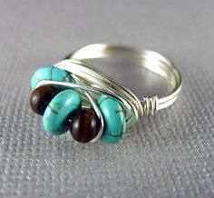 Turquoise Ring Silver Wire Wrapped Custom Ring ♥ by PolymerPlayin, $13.00
