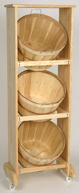 wood rack with baskets  This would be good to store dry produce,