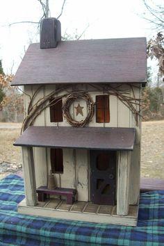 Vintage Folk Art Primitive Amish Saltbox Taupe Farmhouse Cabin Birdhouse  #Country