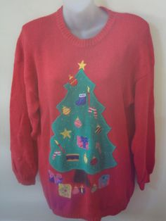 Vintage Christmas Tree Christmas Sweater sz  L. $18.00, via Etsy. Perfect for tacky christmas party