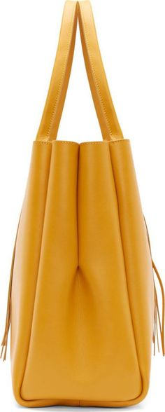8ebec426e1d5 Lanvin Golden Yellow Calf Leather Fringed Shopper Tote Bag