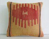 "16""coral beige native wool turkish cushion throw pillow kilim pillow decorative pillow cover accent pillow outdoor floor sham bohemian decor"