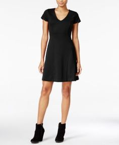 Maison Jules Short-Sleeve Fit & Flare Dress, Only at Macy's
