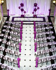 Wedding ceremony in purple, black and white