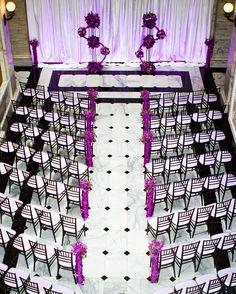 Wedding ceremony in purple, black and white
