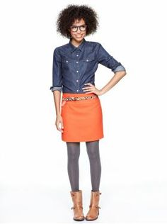 Chambray shirt and Bright Orange Skirt...with skinny animal print belt. Great!  #gap