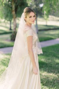 Nice height at crown, with veil pinned ABOVE the bun. The veil was then removed after the ceremony. Wedding Veil, Wedding Gowns, Bun Hairstyles, Wedding Hairstyles, Bridal Hair Buns, Old Hollywood Glam, Beautiful Bride, Flower Girl Dresses, Glamour