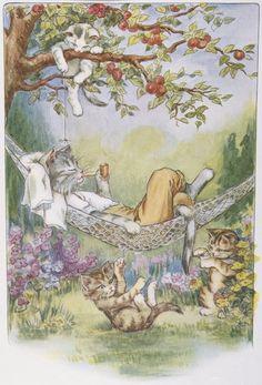 Иллюстрация расслабляющий Кошки из вербы непослушный Котята Лилиан Е. Янг