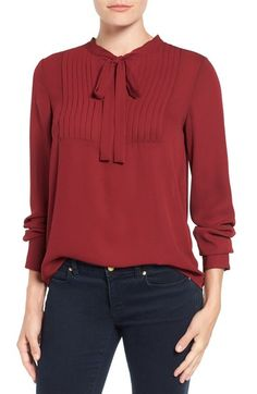 Vince Camuto Tie Neck Pleat Tuxedo Blouse available at #Nordstrom