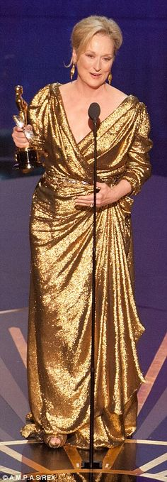 In 2012 Meryl Streep wore cleverly draped gold lame Lanvin to collect her Best Actress Oscar for The Iron Lady.