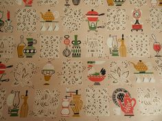 Kitchen Wallpaper, Pale Peach/Pink with Roosters, Coffee Pot, Tea Pot by SolaChristine on Et. 1950s Kitchen Wallpaper, 1950s Wallpaper, Accent Colors, Neutral Colors, Accent Decor, Stylish Kitchen, Decorating Coffee Tables, Cool Lighting, Decorative Items