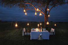 Singita Sabora Camp, Serengeti, TZ romantic safari dinner.