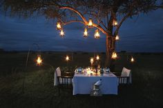 Singita Sabora Camp, Serengeti, TZ romantic safari dinner.