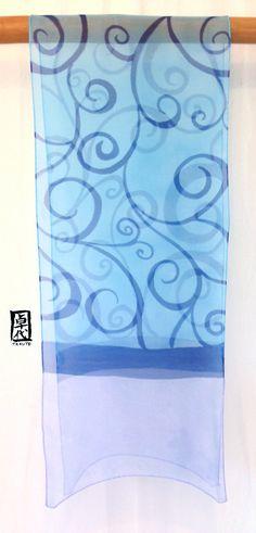 Hand Painted Silk Scarf Blue Japanese Floral by SilkScarvesTakuyo