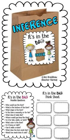 It's In the Bag Reading GAME. Perfect for inferring reading comprehension skills, test prep, and intervention RTI groups. Inference: It's In the Bag Reading GAME. Perfect for inferring reading comprehension skills, test prep, and intervention RTI groups. Reading Games, Reading Lessons, Reading Skills, Teaching Reading, Math Lessons, Guided Reading Activities, Reading Groups, Teaching Kids, Inference Activities