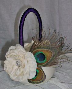 Dark Purple Peacock Flower Girl Basket Ivory by DESIGNERSHINDIGS, $34.00