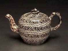 Staffordshire Salt-glazed Stoneware Teapot 1755.                                                                                                                                                                                 More
