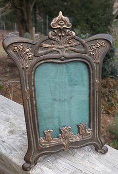 C1890 Art Nouveau Jugenstil Floral Antique Tabletop Cabinet Card Picture Frame | eBay