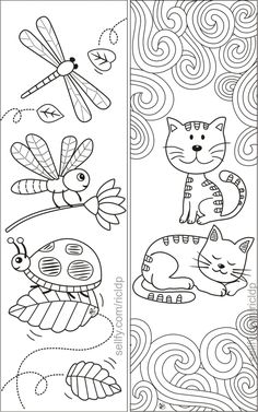 Here's a set of simple yet beautiful coloring bookmarks that would appeal to both kids and adults.Details:* The ZIP folder includes 1 pdf file a Cat Coloring Page, Printable Adult Coloring Pages, Coloring For Kids, Colouring Pages, Free Coloring, Coloring Books, Simple Coloring Pages, Free Printable Bookmarks, Bookmarks Kids