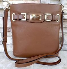 MICHAEL KORS Hamilton Crossbody Messenger Leather Bag, Luggage 35F2GHMC3L #MichaelKors #MessengerCrossBody