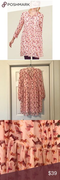 ModCloth Charms My Heart Shirt Dress Size small. Swedish horse print. Pleated button down bodice. Lined. 100% polyester. EUC Modcloth Dresses