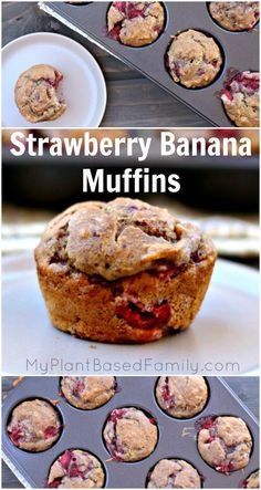 Gluten-free, plant-based (vegan) strawberry banana muffins are easy and delicious. Perfect for Sunday brunch or a healthy dessert.