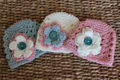 SET OF THREE  Crocheted Baby Flower Hats  by JacquelynVaccaro, $41.00