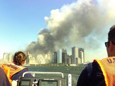 A Coast Guard rescue team from Sandy Hook, N.J., races to the scene of the World Trade Center terrorist attack. U.S. Coast Guard photo by Petty Officer 2nd Class Tom Sperduto.