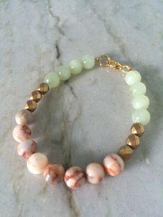 Redline marble and amazonite gemstone bracelet