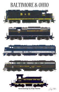 Baltimore & Ohio Locomotives Railroad Poster by Andy Fletcher signed Rail Train, Train Art, Train Posters, Railway Posters, Baltimore And Ohio Railroad, Train Drawing, Railroad Companies, Rail Transport, Railroad Photography