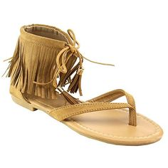 b967b5b44c3d6f ANNA RUFFLE7 Womens Fringe Lace Up Thong Flat Dress Sandals     Want to know