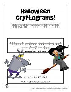 Halloween Cryptogram Word Puzzles | Woo! Jr. Kids Activities : Children's Publishing Halloween Activities For Kids, Halloween Kids, Fun Activities, Printable Puzzles For Kids, Color Puzzle, Pumpkin Stencil, Crossword Puzzles, Brain Teasers, Printable Coloring Pages