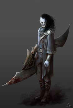The Executioner by Shen YH on ArtStation. Fantasy Art Warrior, Fantasy Weapons, Fantasy Rpg, Dark Fantasy, Fantasy Inspiration, Character Design Inspiration, Dnd Characters, Fantasy Characters, Character Concept