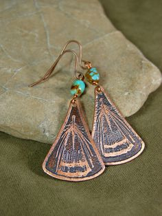 Copper Earrings - Turquoise Earrings - Feather Dangle Earrings - Native Earrings - Tribal Earrings - Bohemian Hippie Jewelry via Etsy