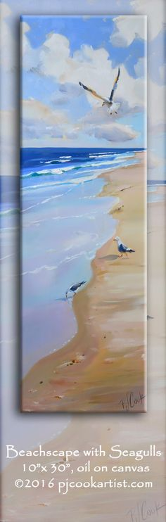 Beachscape with Seagulls 10x30 oil on canvas with colorful ocean waves, sandy beach and seagulls.